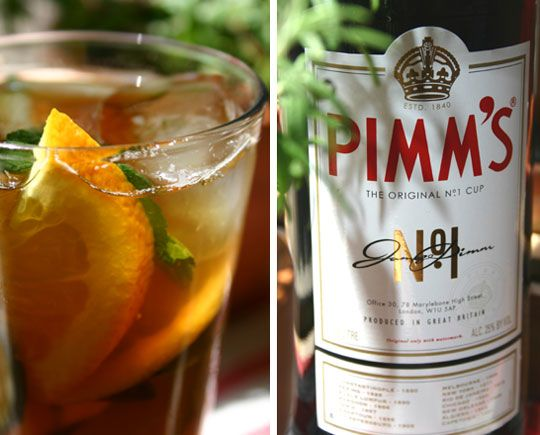 New favorite drink: Pimm's Cup with ginger ale  1 1/2 ounces Pimm's No. 1 Cup. lemonade (or ginger ale or lemon-lime soda). lemon slices. cucumber slices. Half-fill a Collins glass with ice and a few slices of cucumber. Add measure of Pimm's, then top up glass with your choice of mixer. Stir gently and add additional ice if necessary. Garnish with slices of lemon and cucumber.
