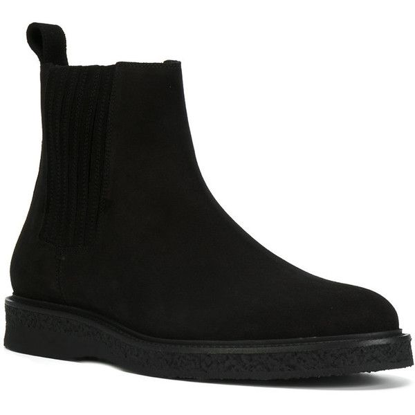 Saint Laurent Hugo 25 Chelsea boots ($945) ❤ liked on Polyvore featuring men's fashion, men's shoes, men's boots, mens woven leather slip-on shoes, mens round toe cowboy boots, mens leather boots, mens flat shoes and mens slip on boots