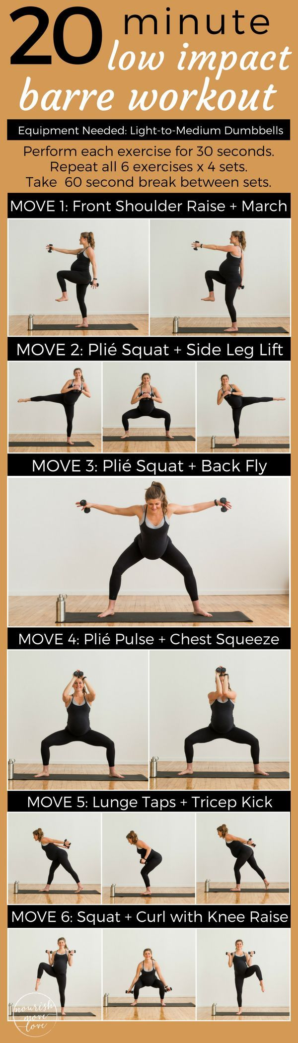 A low impact barre workout perfect for everyone; pregnant, postpartum, bad knees, or just need a low impact workout to sculpt and tone at home. A 20 minute workout that's easy on the knees but challenges your fitness. Combines traditional barre movements