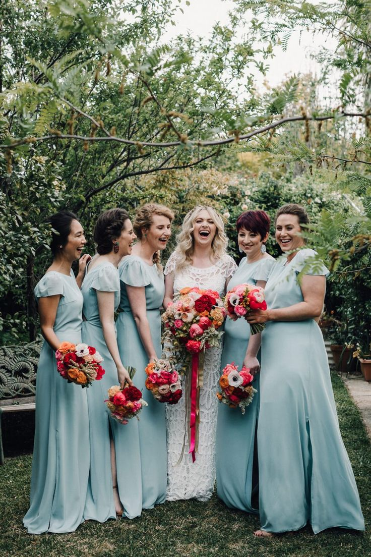 1113 best vintage bridesmaids images on pinterest bridesmaids sky blue full length bridesmaid dresses ombrellifo Gallery
