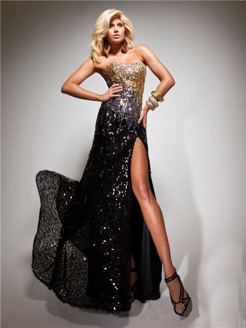 Sheath Sweetheart Long Black Gold Sequined Beaded Evening ...