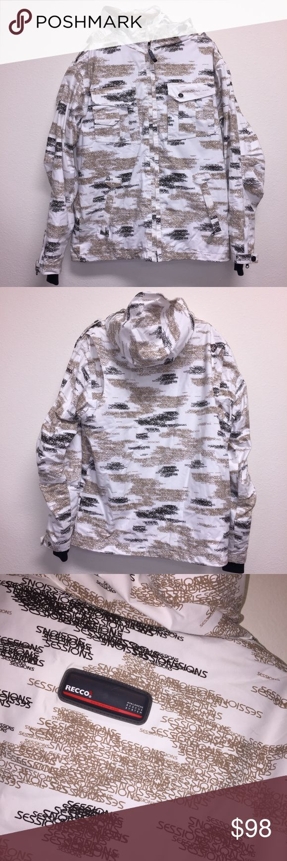 "Sessions Mens Snowboard Jacket Recco Camo-ish pattern. Item in great condition! Worn minimally. Size M. Has avalanche reflective technology. White, tan, and brown. Armpit: 25"". Length: 30"".  Feel free to ask any questions. No trades/model photos sorry. Offers thru offer button only. Items ship same day, M-F if purchased before 2pm PST! :) x. SESSIONS Jackets & Coats Ski & Snowboard"