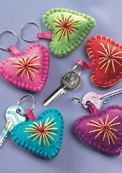 Felt heart keyrings with embroidery