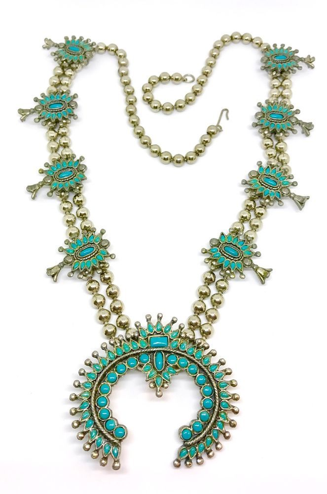 "Beautiful Vintage Zuni Squash Blossom Faux Turquoise Necklace Heavy 28""  | eBay"