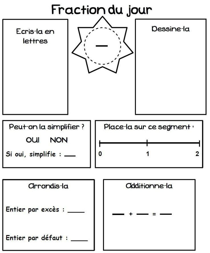 Mathématiques - NUMERATION La fraction du jour