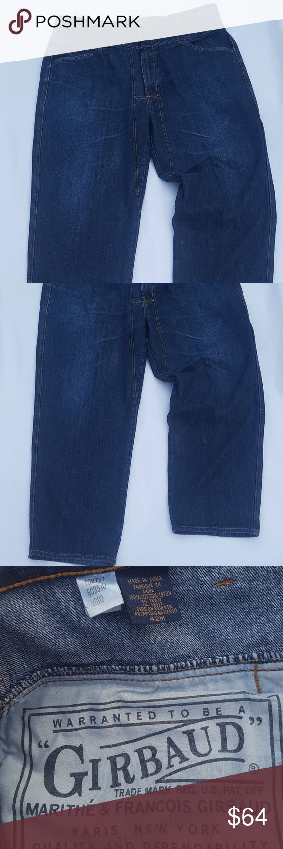 Mens Marithe Girbaud Jeans Baggy Fit (42 x 30L) Mens Vintage Marithe Francois Girbaud Jeans Baggy Fit (42 x 30L) Large Pockets, Dark Wash Marithe Francois Girbaud Jeans Relaxed