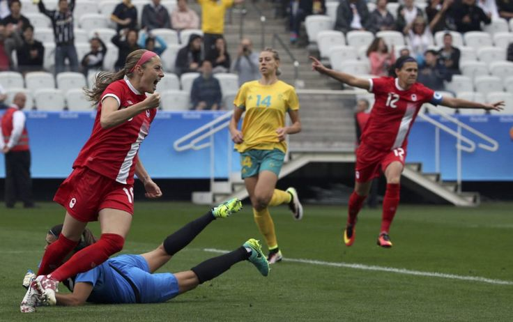 Canada downs Australia in drama-filled women's soccer opener in Rio - A quick goal by Janine Beckie and late insurance from Christine Sinclair lifted Canada to a 2-0 win at the Rio Olympics. - Canada's Janine Beckie celebrates after scoring 20 seconds into the opening women's soccer match against Australia in Sao Paulo on Wednesday. Beckie's goal was a record for the Olympic women's competition according to FIFA. (Paulo Whitaker / Reuters) - Aug. 2016
