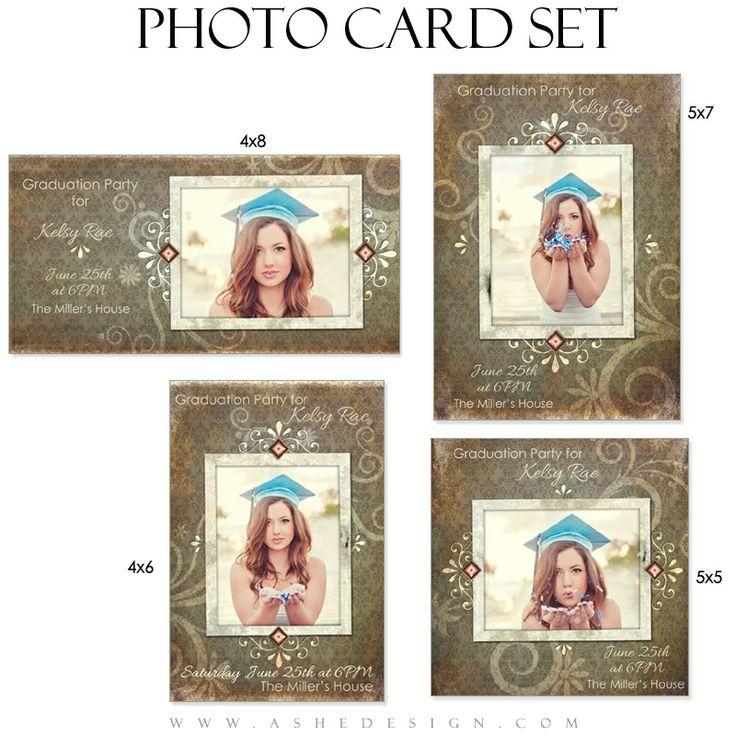 Senior girl photo card set shabby chic senior for 4x8 wedding invitations