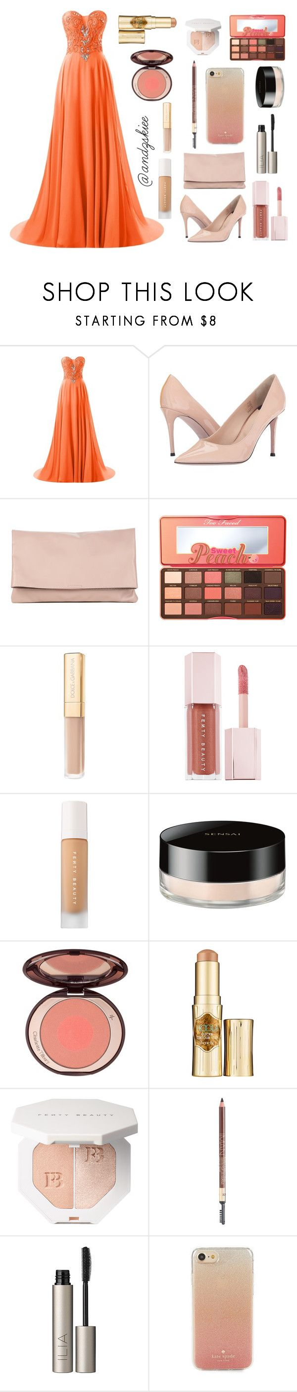 """""""prom (orange + nude)"""" by andzskiee ❤ liked on Polyvore featuring Paul Smith, Sole Society, Too Faced Cosmetics, Dolce&Gabbana, Puma, Sensai, Benefit, Iman, Ilia and Kate Spade"""
