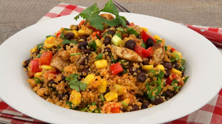 Quinoa Salad with Chicken and Black Beans - Recipes - Best Recipes Ever - Quinoa is an ancient grain native to South America. Its nutty taste and chewy texture make it a great alternative to other grains in salads and soups or as a side dish. Here it pairs perfectly with other South American produce, such as corn and black beans.