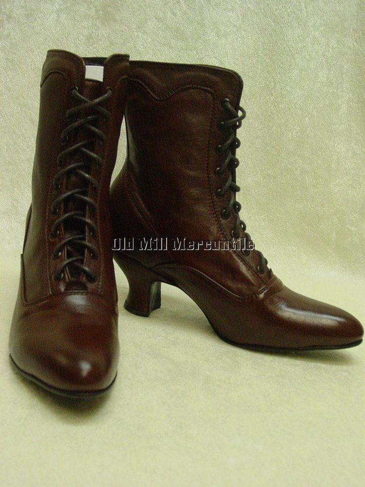 Oak Tree Farms Veil cognac brown kidskin granny Victorian old west  boots 6-11 #OakTreeFarmsFrontierCollection