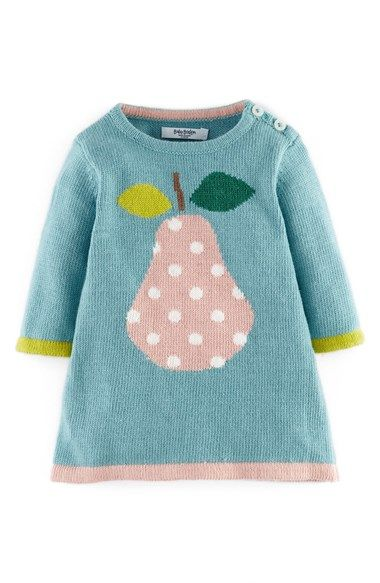 Mini Boden Knit Dress (Baby Girls) A nature-focused pattern adds a charming touch to a swingy A-line dress knit from a soft cotton blend.