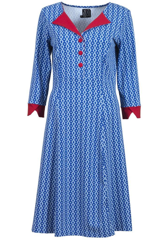Weiz Copenhagen Tinka retro dress in cobalt blue with stunning red details.