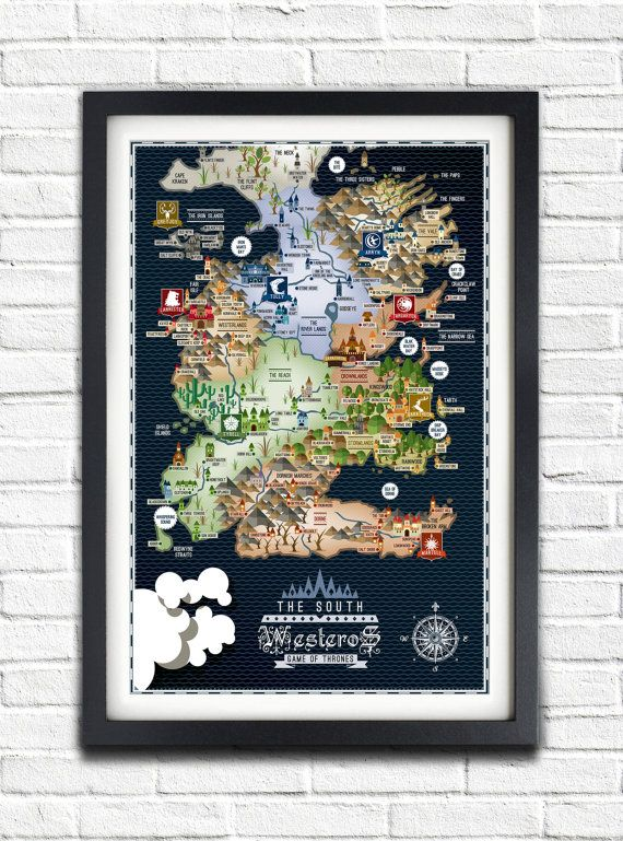 Game of Thrones - The SOUTH - Westeros Map - 17x11 Poster via Etsy