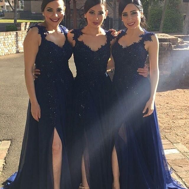 Dark Navy Bridesmaid Dresses Cheap Long Floor Length Side Splits Chiffon Lace Applique Beads Girls Wedding Guest Maid Of Honor Evening Gowns Rose Bridesmaid Dresses Short Bridesmaid Dresses Uk From Marrysa, $80.17| Dhgate.Com