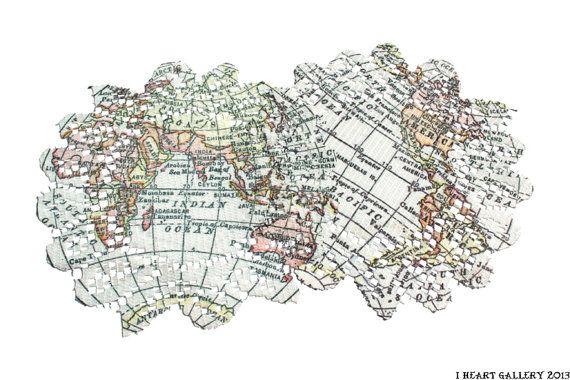 Vintage World Map Doily Set - Custom Print Doily 20cm  I hand print on doilies! It's super fun :)