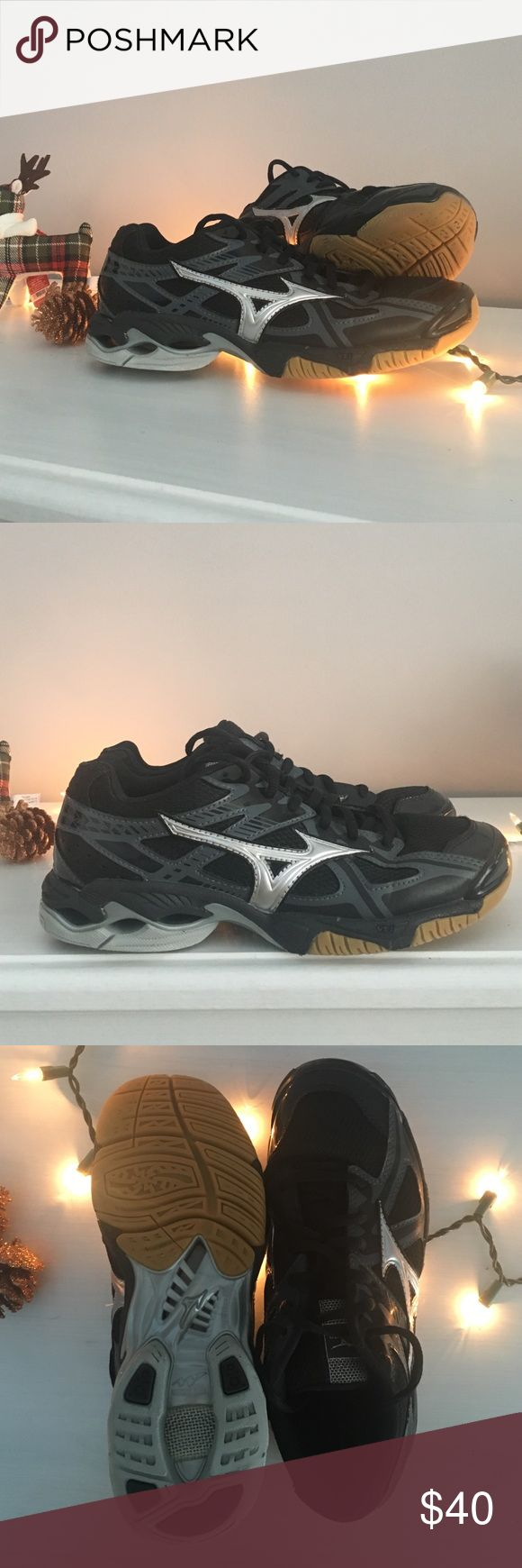 Black and silver Mizuno Wave Volleyball Shoes These black and silver Mizuno Wave volleyball shoes are in amazing condition. They were only used for half of a season and I am only selling because I am no longer playing volleyball but will definitely miss these shoes. Mizuno Shoes