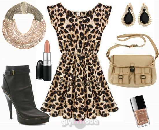 #camel bag and leopard dress combinations =>http://www.giyimvemoda.com/devetuyu-camel-renk-kombinleri.html