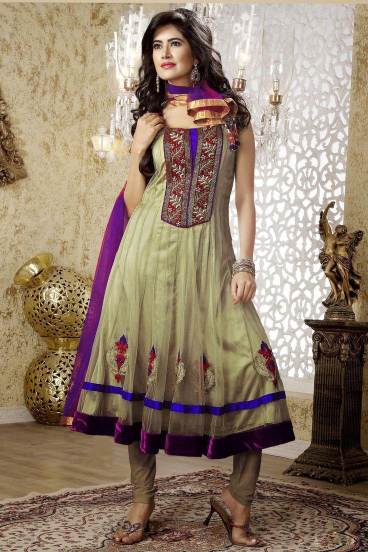 Green Stone Work Net Anarkali #Salwar Suit
