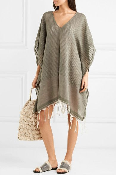 SU Paris - Luma Fringed Cotton-voile Kaftan - Army green | Take Me
