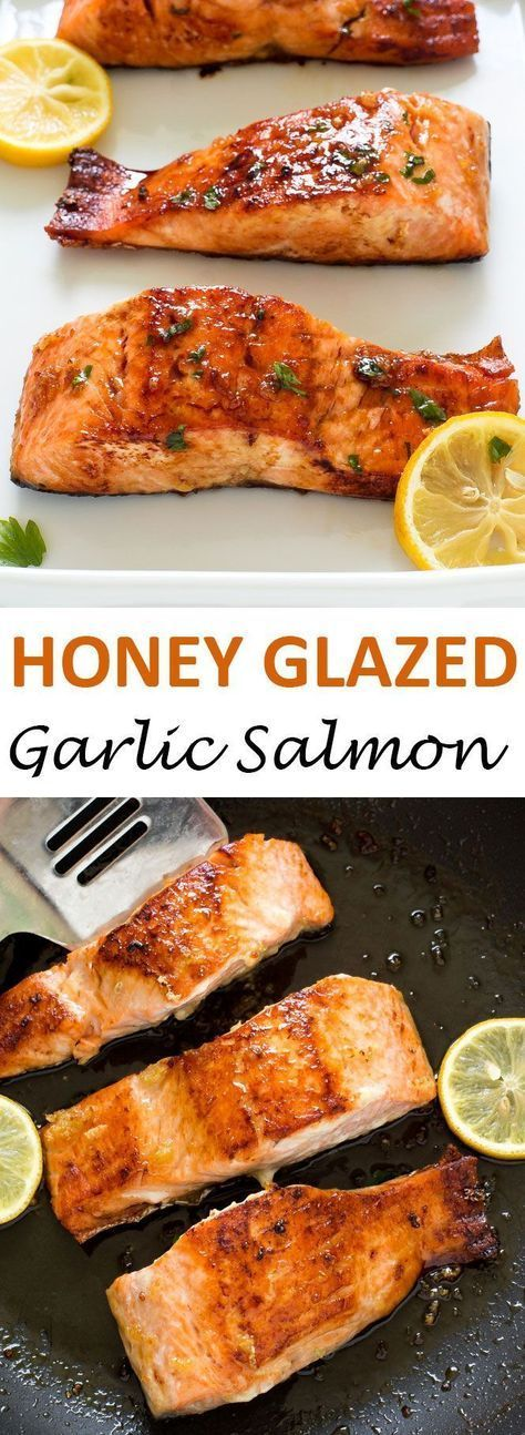 20 Minute Honey Garlic Salmon. Pan fried and served with a sweet honey lemon glaze