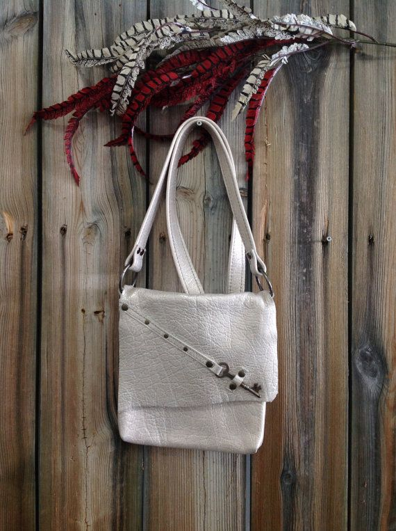 Metallic Gold Crackle Side Bag with Antique Skeleton Key by HeartnSoulHandbags, $160.00