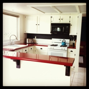 Red Kitchen counter tops