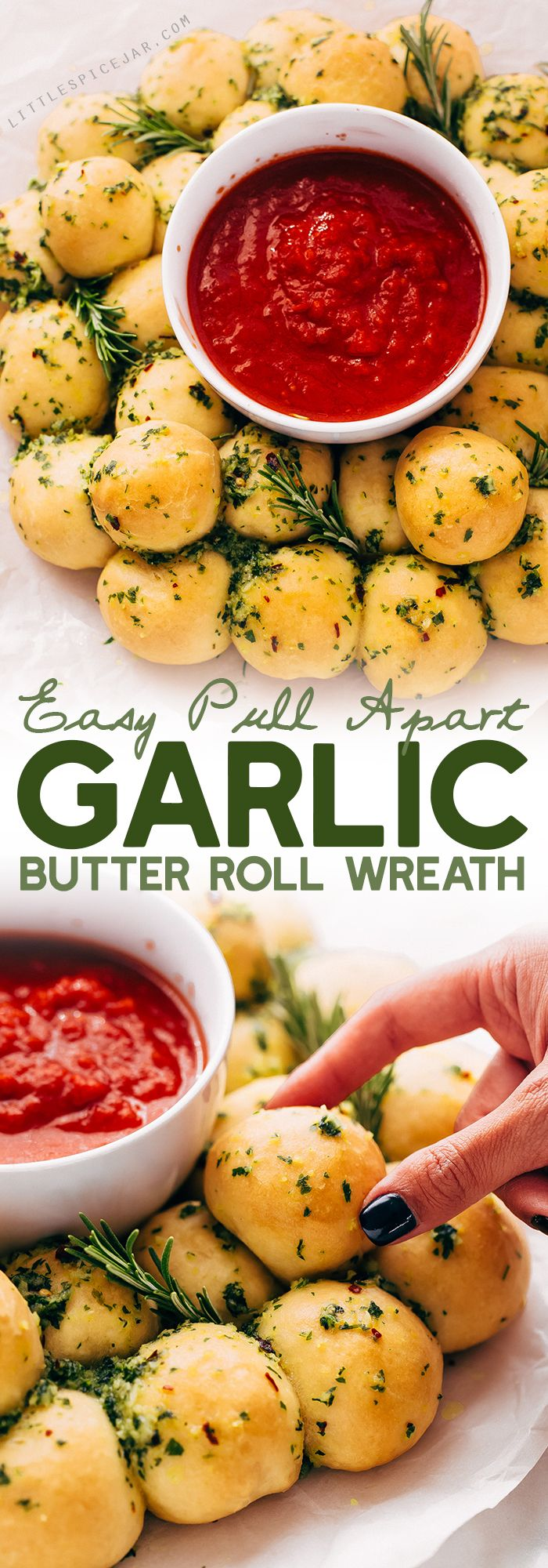 Easy Pull Apart Garlic Roll Wreath - learn how to make a wreath out of homemade garlic rolls! This recipe makes a show-stopper appetizer for all your holiday parties! #garlicrolls #garlicknots #garlicrollwreath #garlicknotwreath #holidayappetizers   Littlespicejar.com