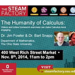 """A double feature this weekend at the 400 West Rich Street Market with The STEAM Factory's David Staley (Department of History) on """"Is Google Making Us Stupid?"""" and Jim Fowler & Bart Snapp (Department of Mathematics) on """"The Humanity of Calculus"""" Saturday from 11am–2pm. More at http://steamfactory.osu.edu/"""