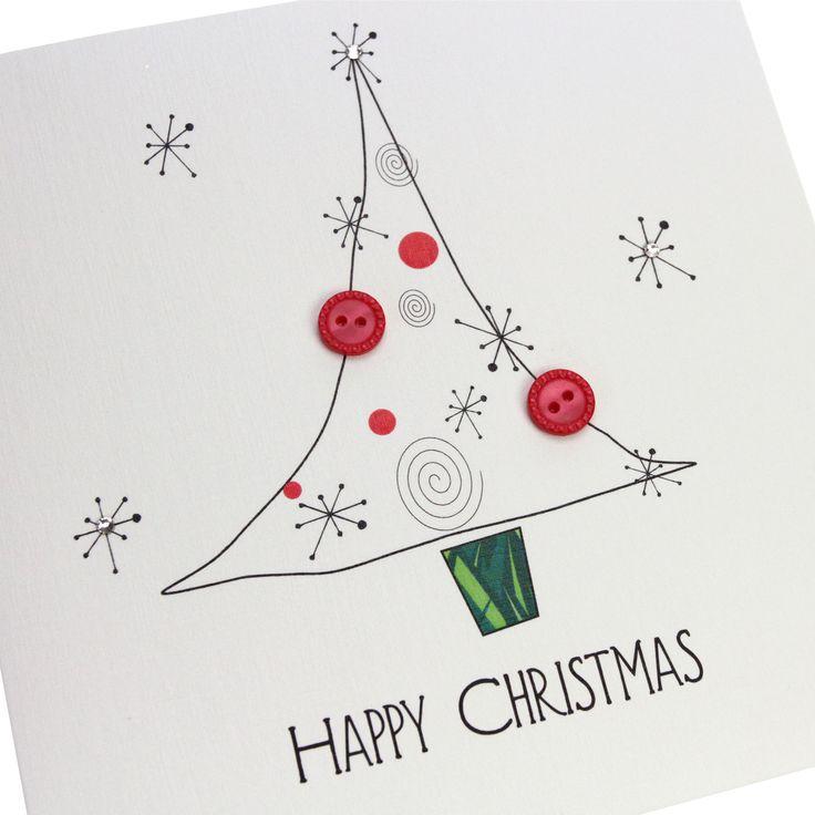 Handmade Christmas Card Red Buttons Christmas Tree Swarovski Crystals - 'Happy Christmas'