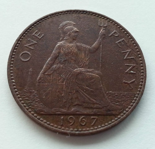 1967 one penny British coin Elizabeth II