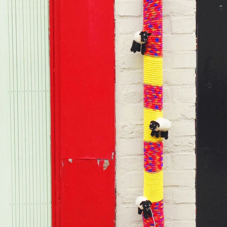 #Yarn #Bombing #YarnBombing by The Guerrila #Knitters at The Gilliangladrag Fluff-a-torium #WestStreet #Dorking