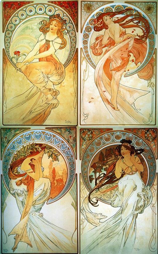 Alphonse Mucha - Painting, Dance, Poetry, Music