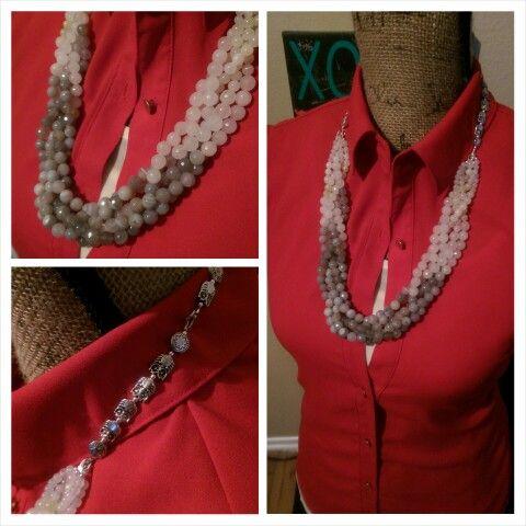 Gray & White 5 Strand Necklace