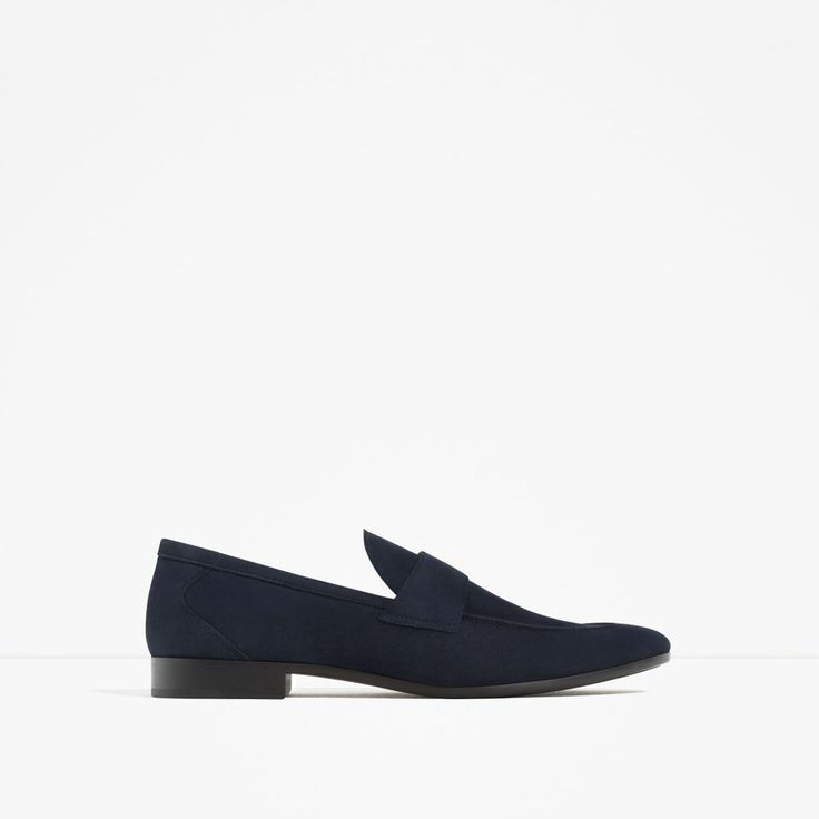 ZARA - MAN - NAVY BLUE LEATHER LOAFERS