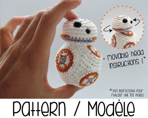 BB8 astromech amigurumi with movable head - BB-8 Star Wars robot [crochet pattern]