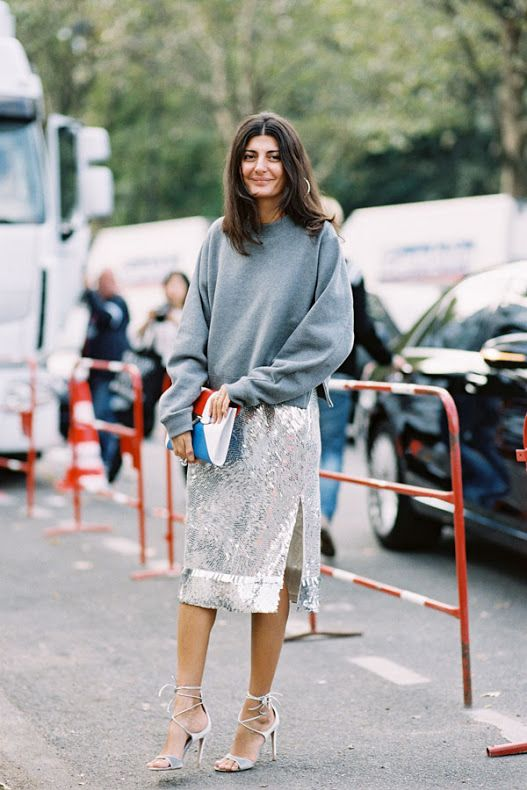 Autumn Style Inspiration: Sweatshirts with Sequins & Deep Blue Coats