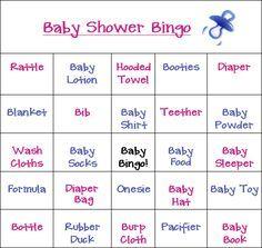 baby shower bingo