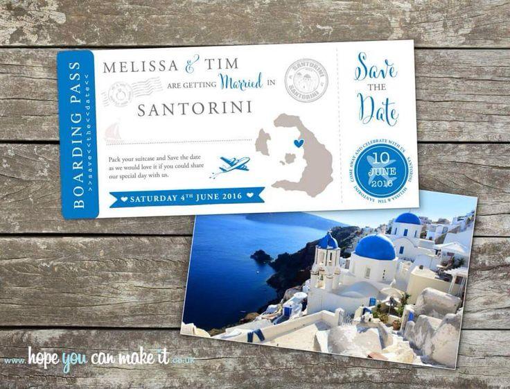 Santorini Wedding Save The Date Boarding Cards Www