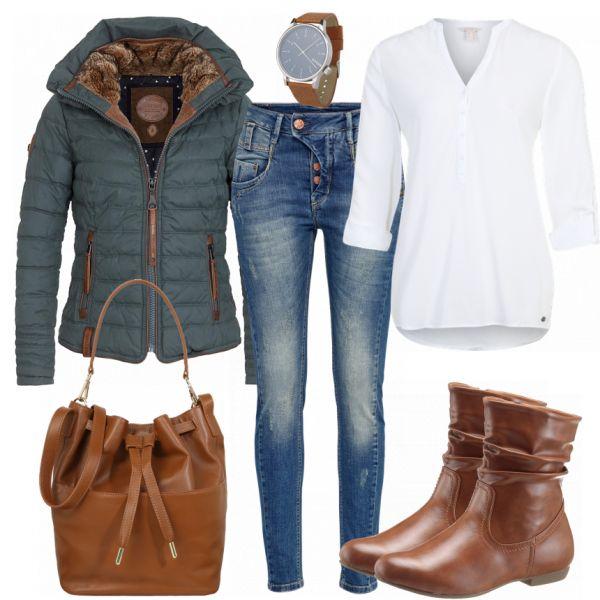 Outfit per il tempo libero: NiceDay presso FrauenOutfits.de ____ Gli stivali marroni sono il classico …