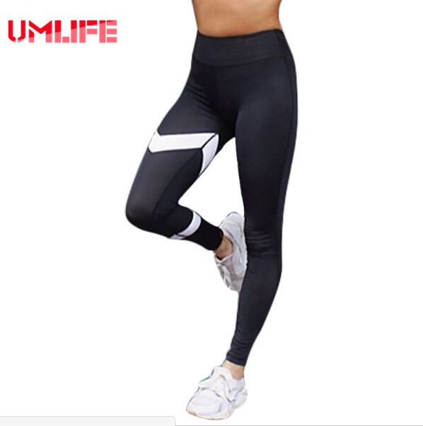 Black White Patchwork Yoga Pants Harajuku Arrow Print Gym Sport Leggings Women Athletic Workout Running Tights Trousers