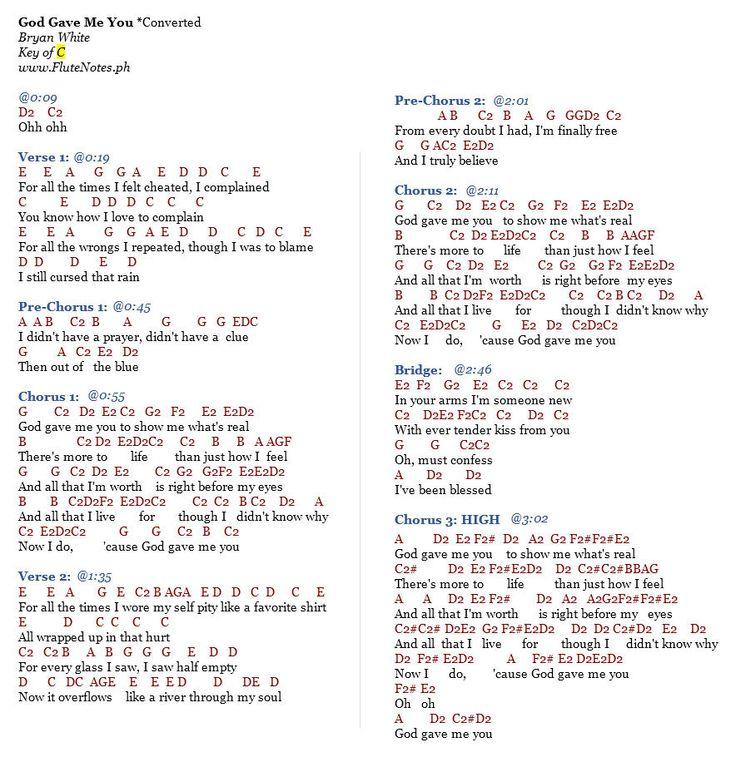 God Gave Me You - Bryan White : FluteNotes.ph (Free Letter Notes) : Chords~ : Pinterest : Asylum ...