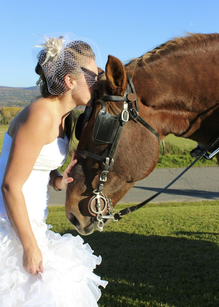 A beautiful country bride and her horse.