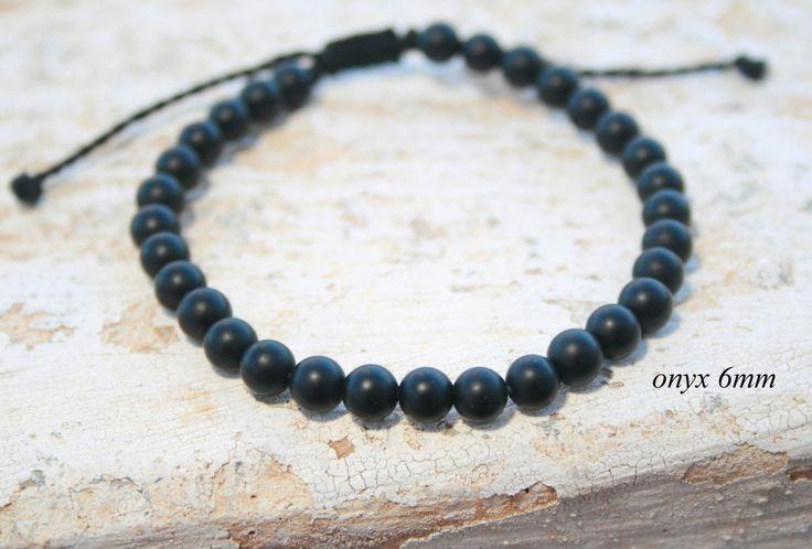 Man Bead Bracelet, Onyx Bracelet, Men Gift, Leo Zodiac stone , Men Healing Bracelet, black bead bracelet, Birthday, Unisex, Matte bead 6mm by SanguineJewelry on Etsy
