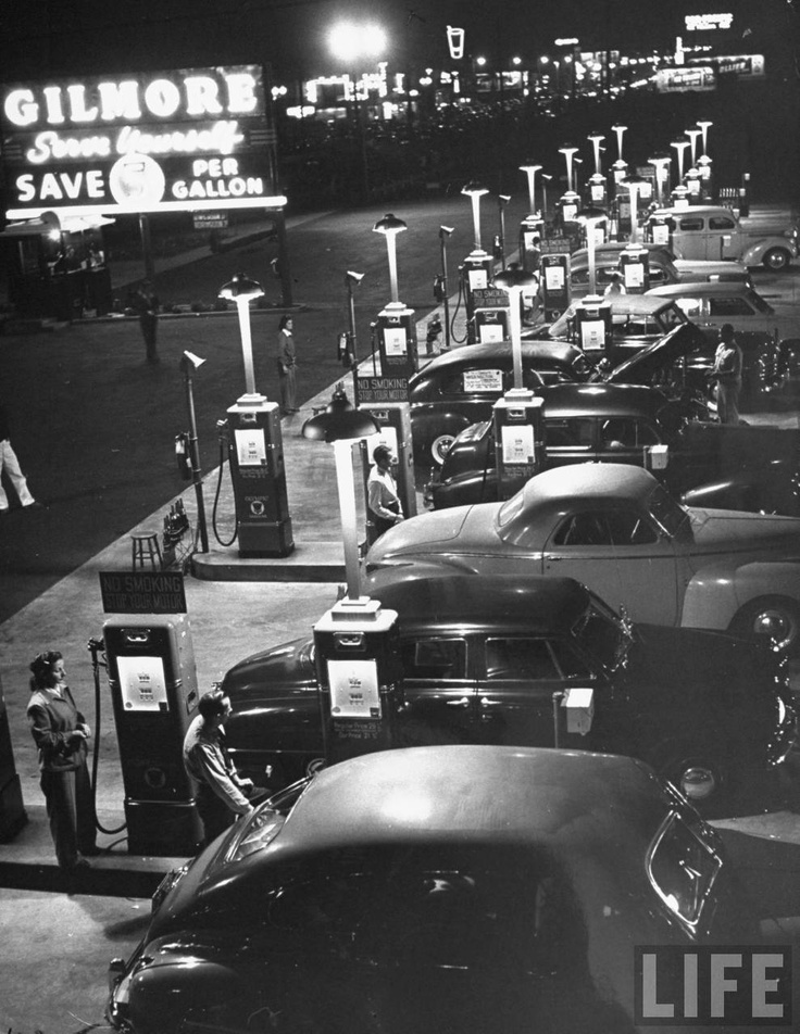 Gilmore Serve Yourself gas station. Los Angeles, 1948. By Allan Grant