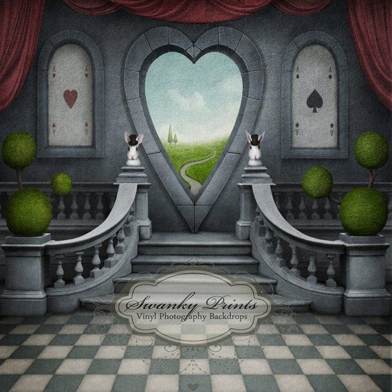 6ft x 6ft Vinyl Photography Backdrop / Alice in Wonderland Inspired / Heart Window/ Photo Booth / Birthday Party
