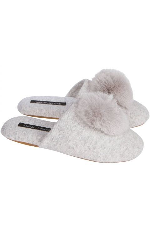 9ab8745a48a Women s Puff Slipper Pure Cashmere with Pom Pom