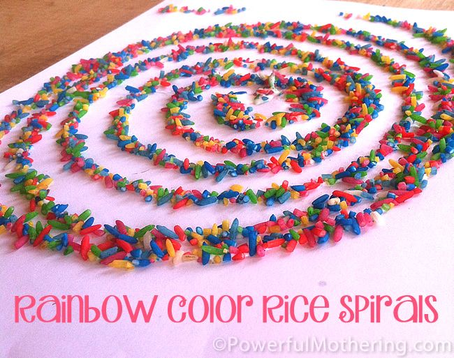 Rainbow Color Rice Spirals Activity