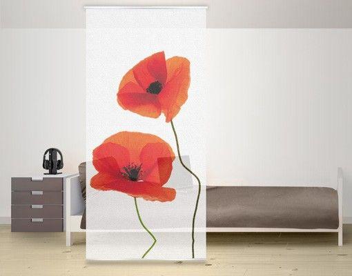 Raumteiler | Vorhang - Charming Poppies 250x120cm #Schiebegardienen #Schiebevorhang #Vorhang #Raumtrenner #Curtain #Blume #Mohnblume