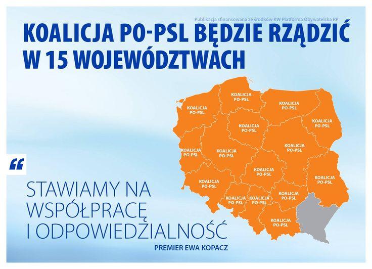 Polska potrzebuje doświadczonych samorządowców, którzy mądrze zainwestują miliardy z Unii. Koalicja PO-PSL zajmie się tym w 15 województwach. Dziękujemy za zaufanie :)